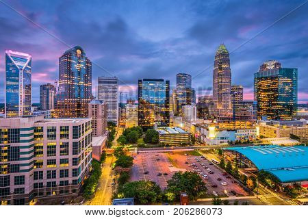 Charlotte, North Carolina, USA skyline.