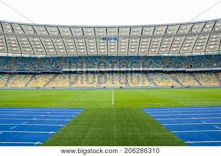 KYIV,UKRAINE,October 04,2012: The empty tribunes of Olympic stadium (NSC Olimpiysky) after UEFA EURO 2012 at October 04 2012