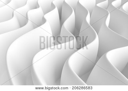 White Wave Background. Abstract Minimal Exterior Design. Creative Architectural Concept. 3d Rendering