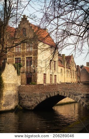 Romantic medieval Bruges, the most famous old city in Flanders, Belgium