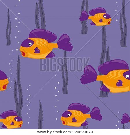 naadloze patroon gele vis