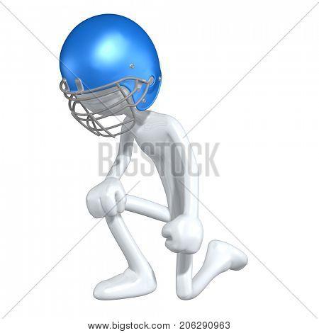 The Original 3D Football Character Illustration Kneeling
