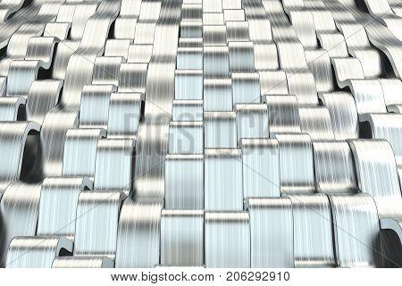 Abstract 3D Rendering Of Metal Sine Waves