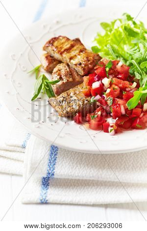 Grilled Pork Tenderloin with Pepper -Tomato Salsa and Arugula Salad