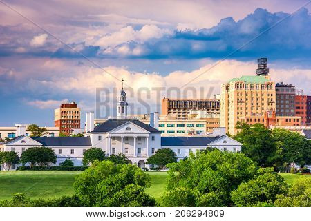 Richmond, Virginia, USA downtown cityscape and historic architecture.