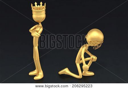 The Idiot King Of America And A Kneeling Football Player In Protest The Original 3D Characters Illustration