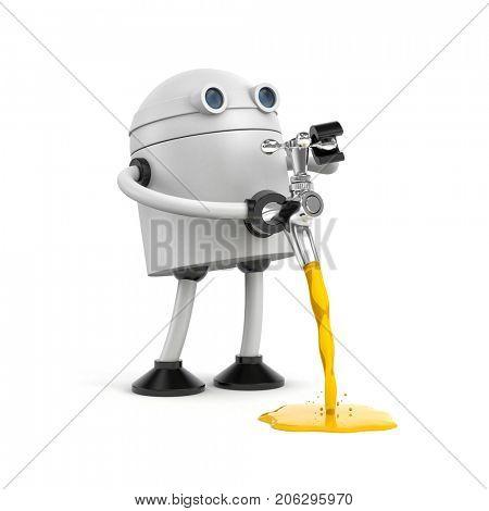 The robot pours through chrome plated faucet. 3d illustration