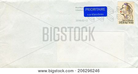 GOMEL, BELARUS - AUGUST 12, 2017: Old envelope which was dispatched from Sweden to Gomel, Belarus, August 12, 2017.