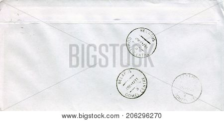 BELARUS- CIRCA 2017: A revers side of the envelope with Belarussian postal stamp, circa 2017.