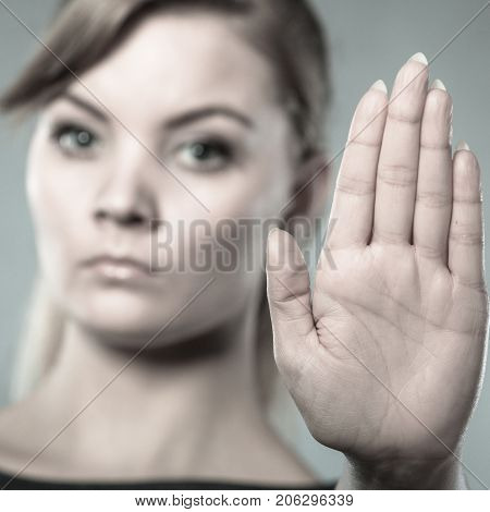 Assertive Woman Making Stop Gesture.
