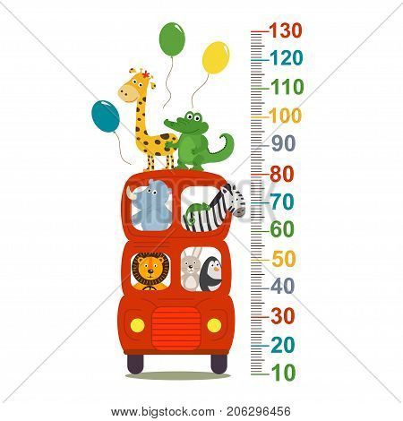 growth measure with animals in london red bus - vector illustration, eps