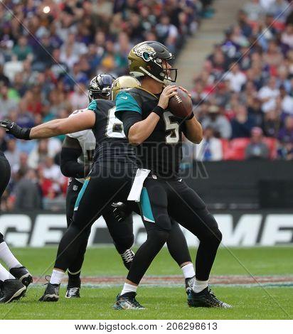 LONDON, ENGLAND - SEPTEMBER 24: Blake Bortles quarterback for Jacksonville Jaguars during the NFL match between The Jacksonville Jaguars and The Baltimore Ravens at Wembley Stadium