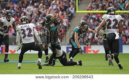 LONDON, ENGLAND - SEPTEMBER 24: Chris Ivory running back for Jacksonville Jaguars during the NFL match between The Jacksonville Jaguars and The Baltimore Ravens
