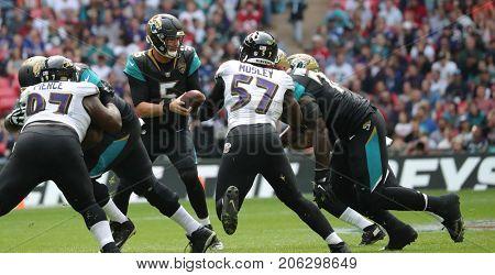 LONDON, ENGLAND - SEPTEMBER 24: Blake Bortles quarterback for Jacksonville Jaguars during the NFL match between The Jacksonville Jaguars and The Baltimore Ravens