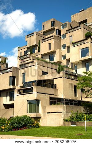 MONTREAL, CANADA - JULY 15, 2017:  Habitat 67 is a housing complex in Montreal of 354 identical, prefabricated concrete forms arranged in various combinations, reaching up to 12 stories in height