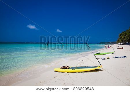 Paddle Board on  White beach, Boracay island. Philippines.