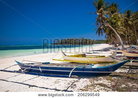 The local fisherman's philippines boat on the Bulabog beach at Boracay island. Philippines.