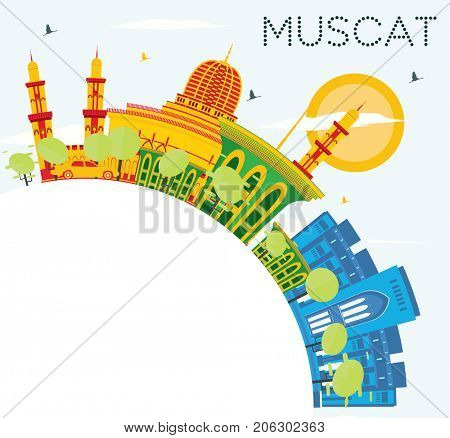 Muscat Skyline with Color Buildings, Blue Sky and Copy Space. Business Travel and Tourism Concept with Historic Architecture.