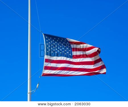 United States Flag At Half Staff