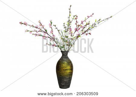 Fake artificial cherry blossom flower branch in pink and white color isolated