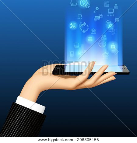 Woman's hand holding smart phone horizontally with lighting blue screen and internet icons. Concept for mobile service