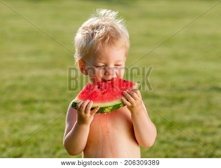 Portrait of toddler child outdoors. Rural scene with one year old baby boy eating watermelon slice in the garden. Dirty messy face of happy kid.