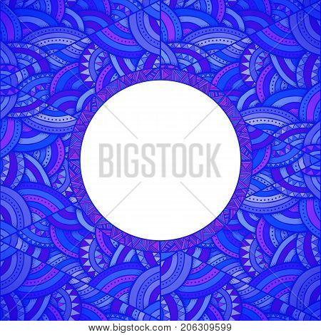 Decorative frame design ethnic pattern greeting card template vector illustration