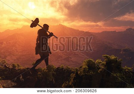 Primitive man walking on the grasson background of sky.,3d render