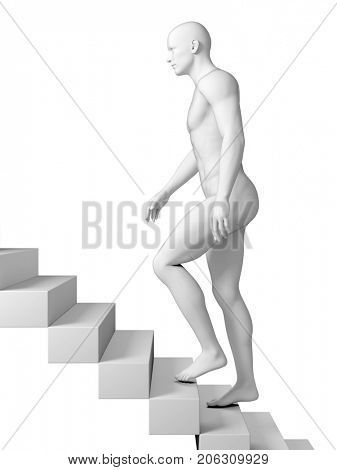 3d rendered medically accurate illustration of a man walking upstairs