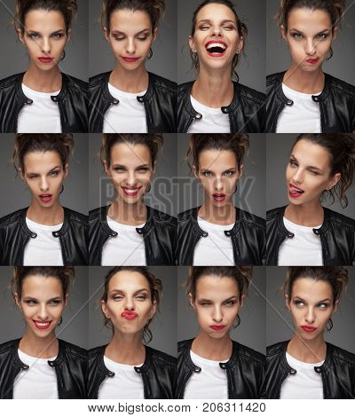 collage of beautiful woman's faces with different moods , studio portraits