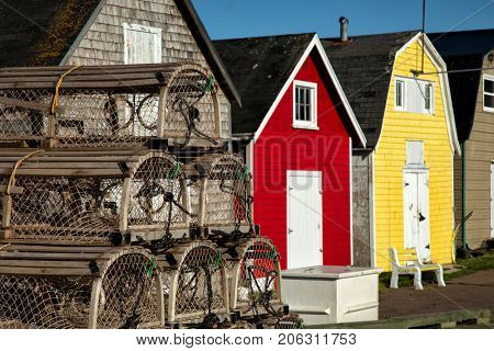 Lobster pot with oysters barns in background  in New London, Prince Edward island also called PEI