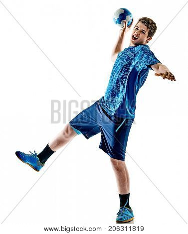 one caucasian handball player teenager boy in studio isolated on white background