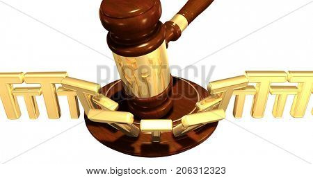 A Wall Of The Letter T Struck By A Gavel Law Concept 3D Illustration