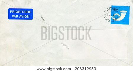 GOMEL, BELARUS - AUGUST 12, 2017: Old envelope which was dispatched from Estonia to Gomel, Belarus, August 12, 2017.