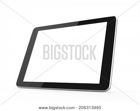 Flat touch tablet computer isolated on white background. 3D rendering.