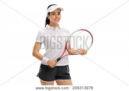 Female tennis player with a racket isolated on white background