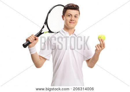 Teenage tennis player with a racket and a tennis ball isolated on white background