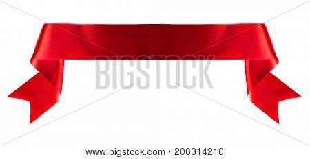 Red banner ribbon isolated on white background