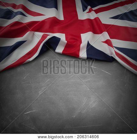 Union Jack flag on blackboard