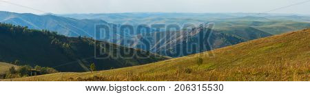 Beauty day in the mountains in Altay, panoramic picture