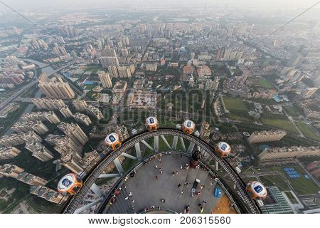 GUANGZHOU, CHINA - AUG 21, 2015: Observation deck of Canton Tower and city panorama, This is second tallest TV tower in world