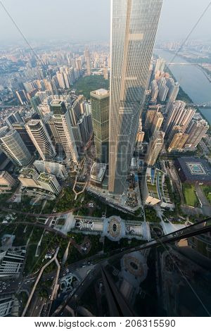 GUANGZHOU, CHINA - AUG 23, 2015: CTF Finance Centre, view from International Finance Center, IFC has height of 437.5 meters, with 103 floors