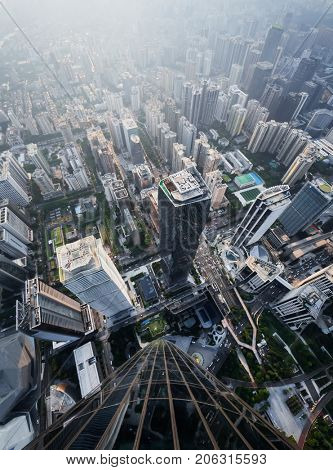 GUANGZHOU, CHINA - AUG 23, 2015: International Finance Center rooftop, IFC has height of 437.5 meters, with 103 floors