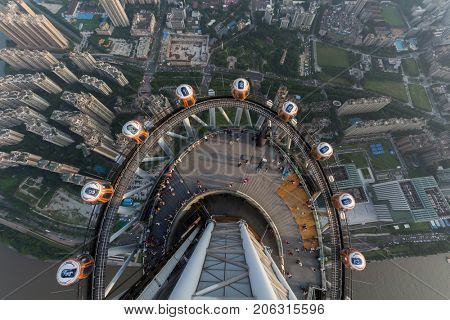 GUANGZHOU, CHINA - AUG 21, 2015: People on observation deck of Canton Tower, This is second tallest TV tower in world