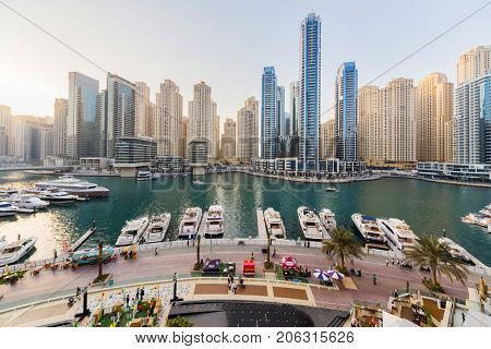 DUBAI, UAE - JAN 17, 2017: Dubai Marina Canal, Bay Central, Every year more than 55 million tourists visit Dubai