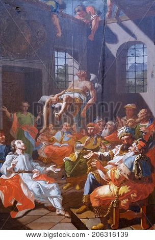LEPOGLAVA, CROATIA - OCTOBER 08: Miracles of Jesus: Cured a paralytic at Capernaum, church of Immaculate Conception in Lepoglava, Croatia on October 08, 2016.