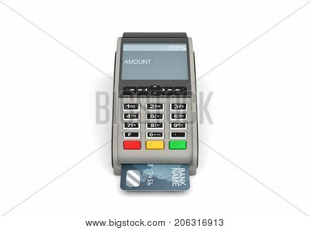 3d rendering of a POS-terminal with a generic plastic card inside and a screen with a writing AMOUNT on it. Checkout equipment. Plastic cards accepted. In-store terminal.
