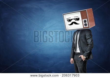 A businessman has one in a pocket and wears an old TV instead of his head, while it shows a white cool guy emoticon. Feel like boss. Winning attitude. Expert at work.