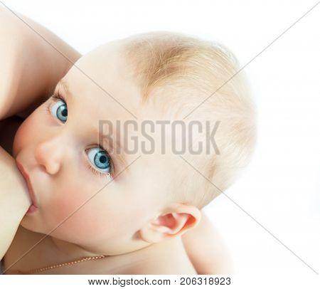 Cute baby sucks mother's breasts. Breastfeeding