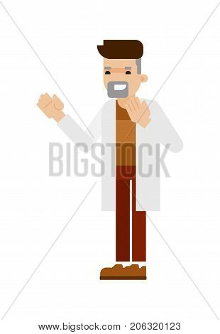Young scientist in white coat icon. Scientific research in laboratory vector illustration in flat design.